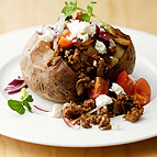 Baked Potato with Cheesy Mince Topping