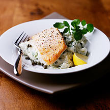 Grilled salmon with watercress and caper mash